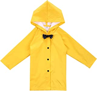 Age 2-10 Years Kids Hooded Button Down Long Jacket Bow Rainwear Lightweight Raincoat