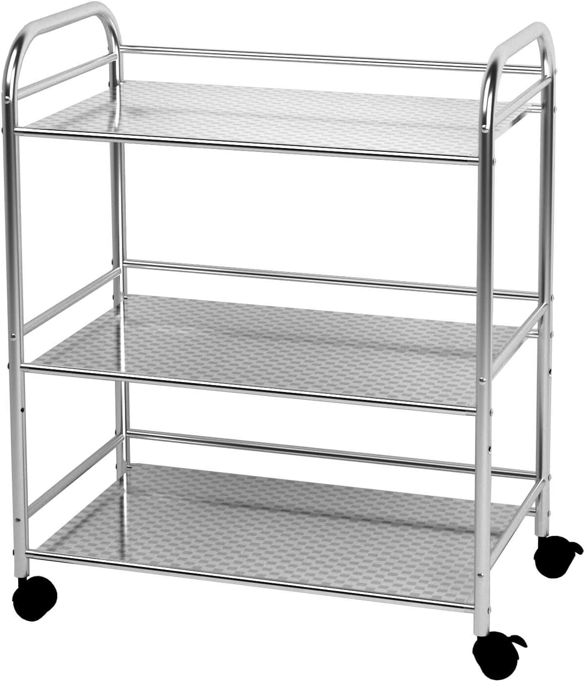 YKEASE 3-Shelf Shelving Units on Stainless Kitchen Steel Max 83% OFF Wheels Max 81% OFF