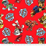 Paw Patrol Red Cotton Fabric by The Yard