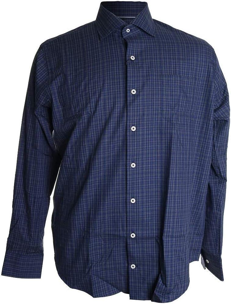 PETER MILLAR Mens Dress Shirt Plaid Print Regular Fit Navy