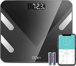 Báscula personal digital de peso Impedenciométrica sin hilos inteligente para iOS y Android integrada con 11 índices de medición masa, grasa, masa magra y metabolismo básico