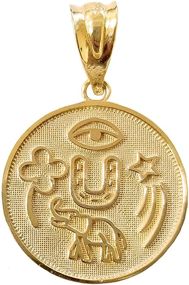 10K Yellow, White, or Rose Gold Lucky Charm Round Coin Medal Talisman Pendant - Choice of Metal