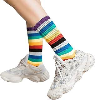 Eldori 靴下 ミッドチューブソックス おもしろ靴下 綿100% レディース スポーツ ソックス スクールソックス クルーソックス レインボー ストライプ 春夏秋冬 オールシーズン 速乾通気 Women Causal Solid Winter Warm Leg Warmers Knit Knitted Crochet Socks (C)