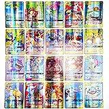 Dasini Cartas Pokémon, Tarjetas de Pokémon, Cartas de Juego de Dibujos Animados, 64 Piezas de Tarjetas de Pokémon Juego con 4 Mega + 20 Team + 32 V + 8 Vmax Cartas, Regalos para Niños