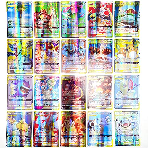 POPQ 64 Piezas Juego de Cartas Pokemon Anime Cartoon Game Card Kids GX Trading Cards con 4 Mega + 20 Team + 32V + 8 VmaxCards