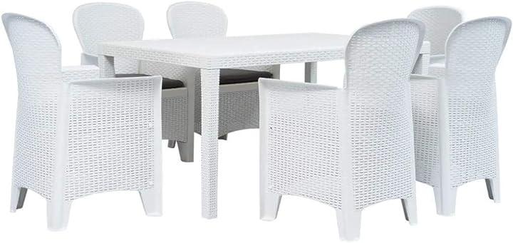 Tavolo e sedie da giardino in plastica simil rattan (bianco) tomaino B087PFK889