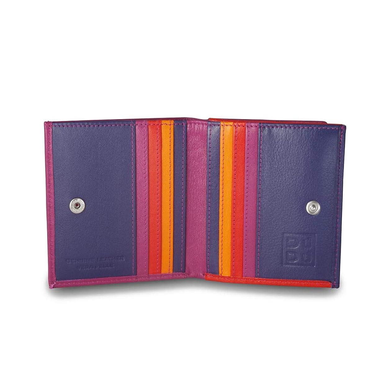 革命求人不均一DUDUフクシアのカードとコイン用の多色レザーの財布