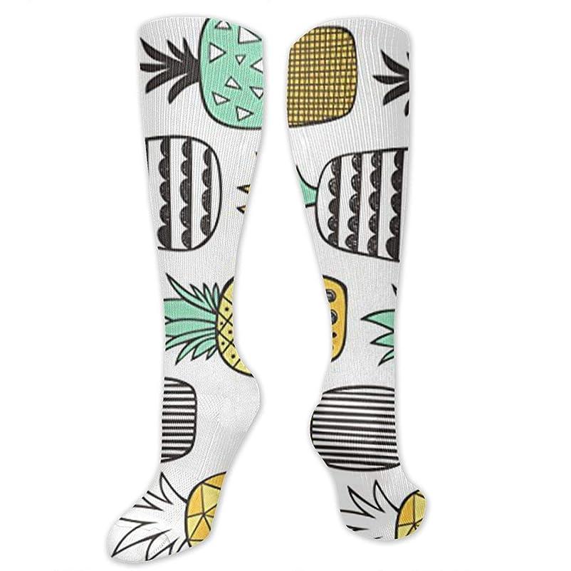 見る人日光作ります靴下,ストッキング,野生のジョーカー,実際,秋の本質,冬必須,サマーウェア&RBXAA Pineapple Geometric On White Socks Women's Winter Cotton Long Tube Socks Knee High Graduated Compression Socks