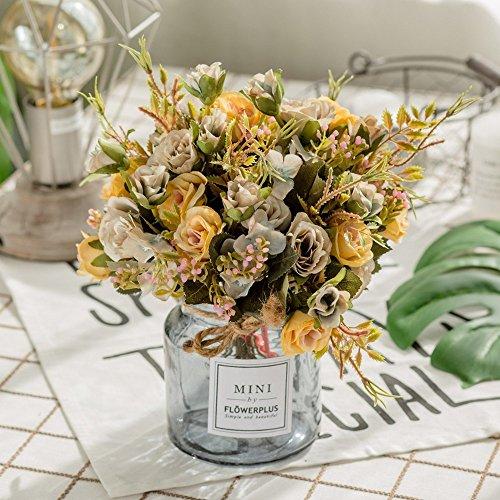 Jnseaol Fleurs Artificielles Fleurs Artificielles Faux Fleurs Fenêtres Sills Mariage Party Hôtels Décorations pour La Maison Vacances Cadeaux Verre Pots DIY Vintage Color -47