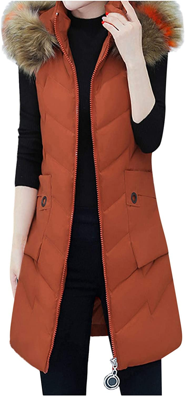 VEKDONE Women Slim Sleeveless Winter Thicken Jackets Warm Faux F