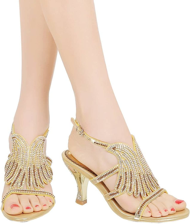 YooPrettyz Womens Triple Strap Wedding Shield Sandals Rhinestone Sandals Evening High Heels
