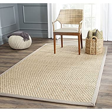 Safavieh Natural Fiber Collection NF114P Basketweave Natural and Grey Summer Seagrass Area Rug (5' x 8')