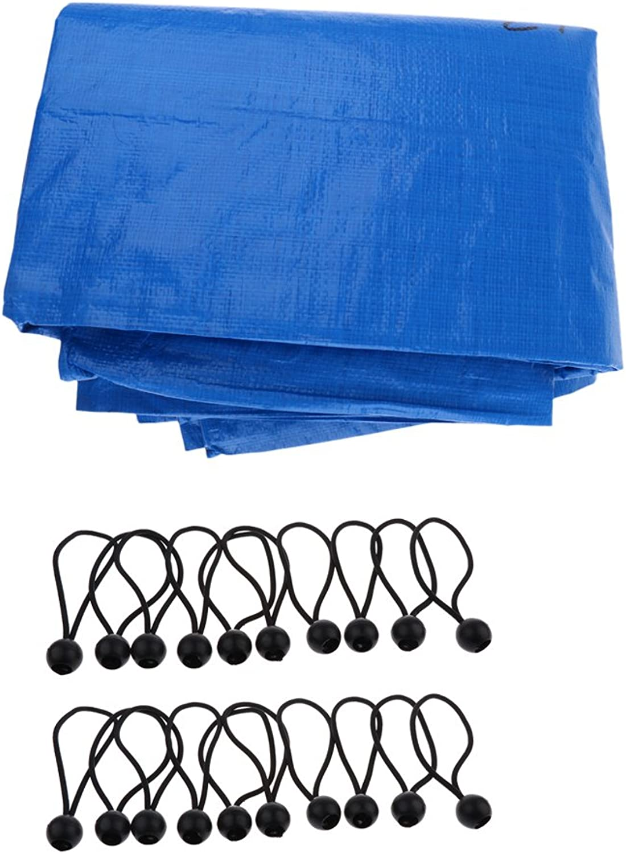 Baoblaze 9.8ft x 13ft blueee Heavy Duty Mildew Rust Resistance Waterproof Tarp Cover + 20pcs 6.3'' Ball Tie Downs