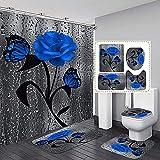 Blauwe Roos En Vlinder Op Glas Creatieve Mode Kunst Vintage Elegante Bloemen Patroon Douchegordijn Set 4 Stuks Badkamer Decor Stoffen Gordijn Met Tapijten En Badmat Accessoires