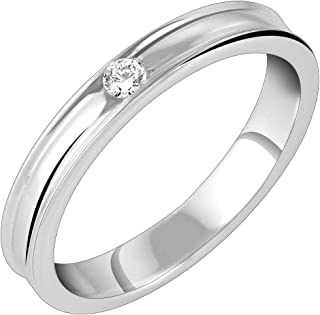 Peora Rhodium Plated Solitaire Ring in 925 Sterling Silver CZ for Men & Boys