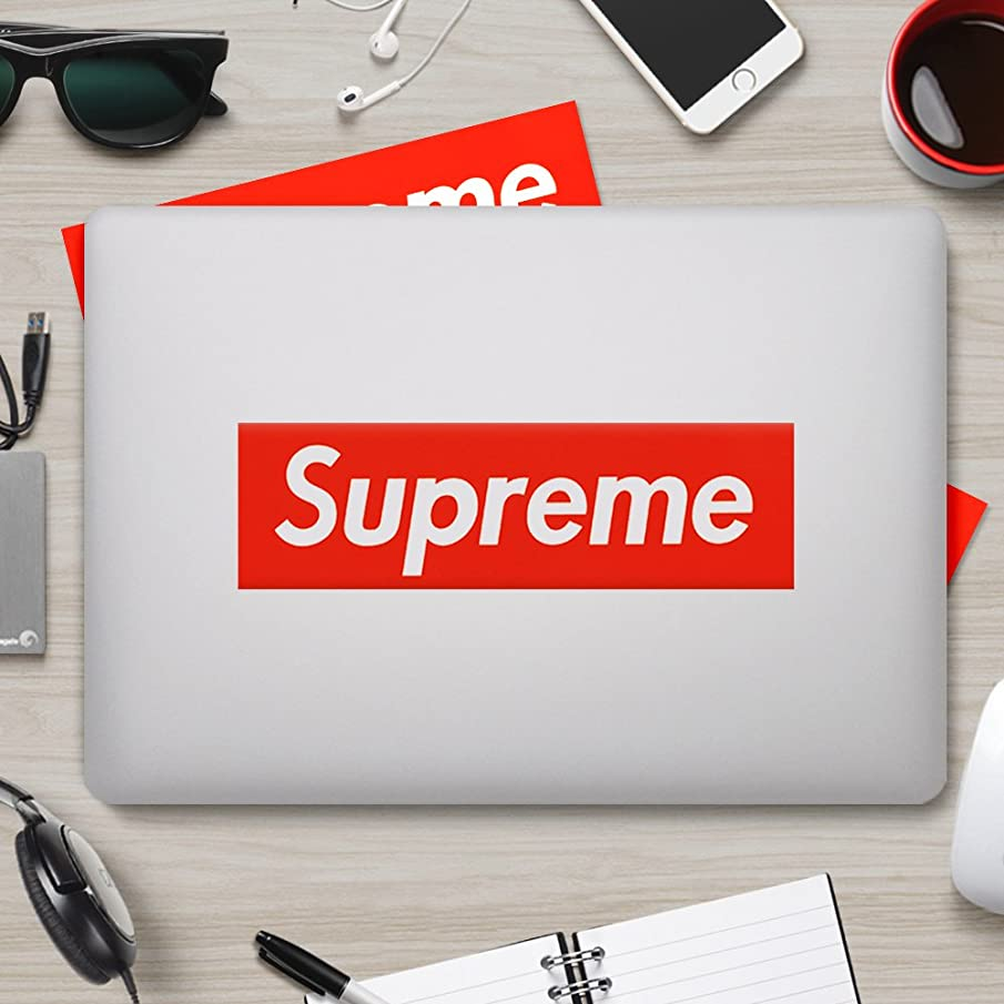 Supreme Sticker [ 10 Pack, 7.5 x 2 inch Box Logo ] Waterproof Vinyl Supreme Stickers for Laptop, Car, Helmet, Skateboard, Luggage