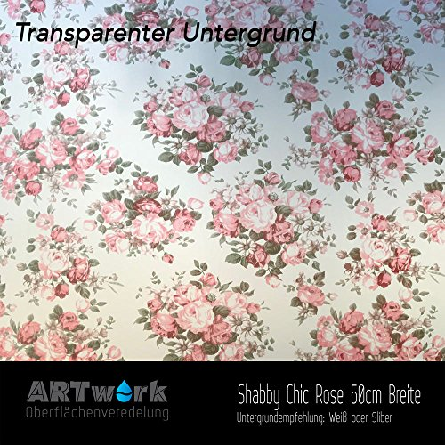 Wassertransferdruck WTD Design Folie ARTwork Shabby Chic Rose 50cm Breite