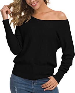 Women's Off Shoulder Sweater Long Sleeve Loose Pullover...