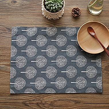 Aothpher Set of 4 Rustic Tree Table Placemats Cotton Linen Pattern Washable Place Mats Floral Tree Navy, approx 12 inch by 18 inch