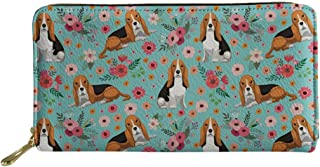SANNOVO Women Cute Dog Printed Purses Travel Leather Zippered Wallet Floral Cards Holder