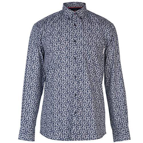 Pierre Cardin - Camicia a Maniche Lunghe e Cravatte da Uomo Bleu Marine/Blanc Imprimé XXL