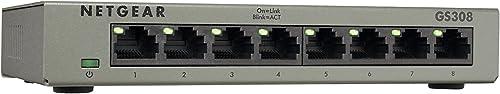NETGEAR GS308 SOHO 8-Port Unmanaged Gigabit Ethernet Unmanaged Network Switch (GS308-100AUS), 8 Port, GS308-100AUS