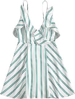 ZAFUL Summer Floral/Striped/Check/Ribbed Ruffle Hem/Tied/Warp Sleeveless Cami Mini Dress