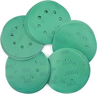 5 In 8 Hole Hook Loop Wet Dry 60-2000 Grits Sanding Disc Sandpaper Green Orbital