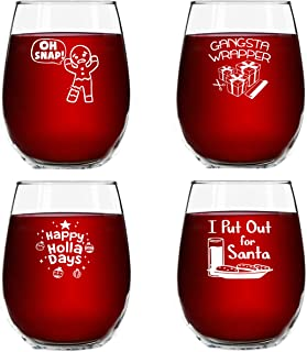 Christmas Puns Funny Stemless Wine Glasses (Set of 4)- 15 oz - Cheerful Holiday Party Cups- Naughty and Hilarious Gift Exchange Idea for Dirty Santa or White Elephant