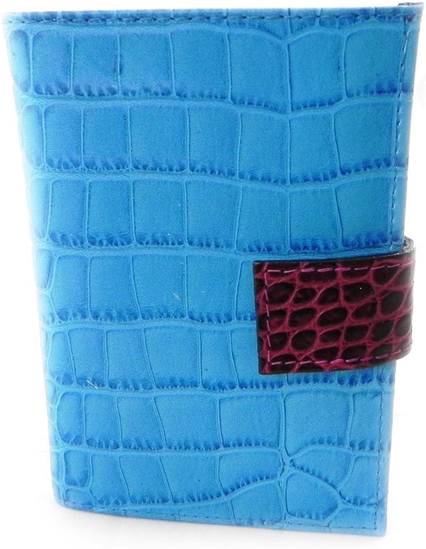[On SALE   SOLDES  ]   Leather wallet  Frandi  monochrome bluee croc (european).