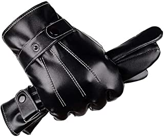 Valpeak Mens Leather Gloves Winter Warm Genuine Sheepskin Driving Gloves Touchscreen Cold Weather Gloves Fleece
