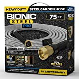 Bionic Steel PRO Garden Hose - 304 Stainless Steel Metal 75 Foot Garden Hose – Heavy Duty Lightweight, Kink-Free, and Stronger Than Ever with Brass Fittings and On/Off Valve – 2021 Model