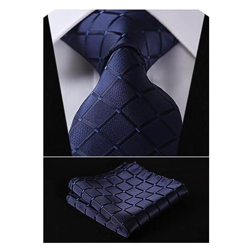 9783e9b3d68f HISDERN Plaid Tie Handkerchief Woven Classic Stripe Men's Necktie & Pocket  Square Set