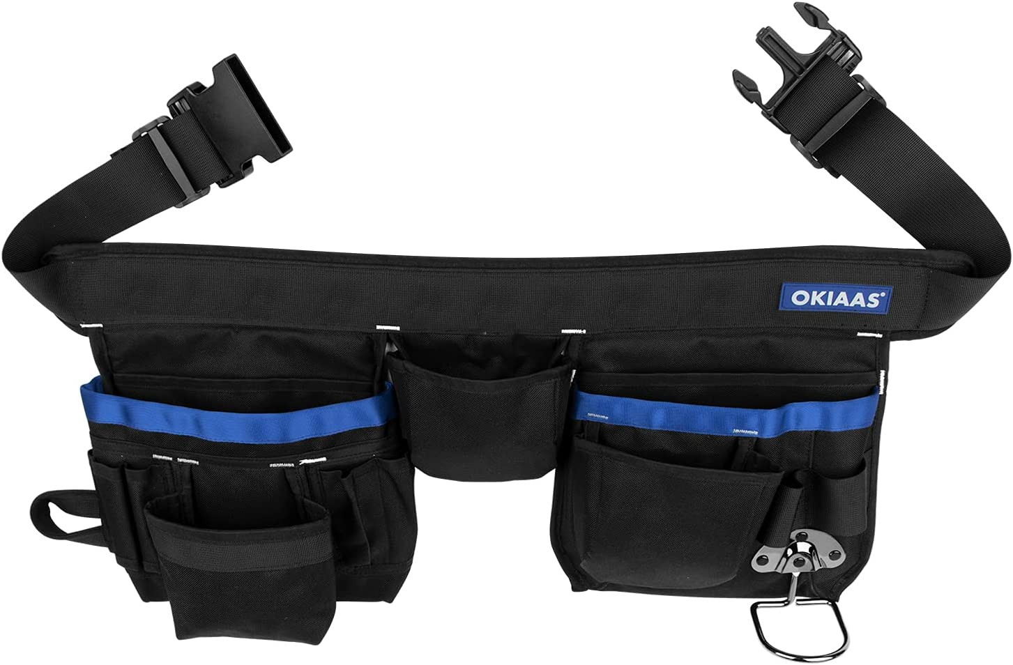 """OKIAAS Tool Belt, 21 Pockets, Adjustable Waist From 31""""To 53"""", Heavy Duty Tool Pouch Bag For Electrician, Carpenter, Framer, Construction, Gardening, Cleaning - -"""
