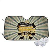 A10U-ZYZ Windshield Sun Shade School Bus Driver - How We Roll Funny Visor Car Sunshade Universal 51.2x27.5 Inch,55x30 Inch for Cars SUV Truck,Block The Sun,Protects Interior Cool