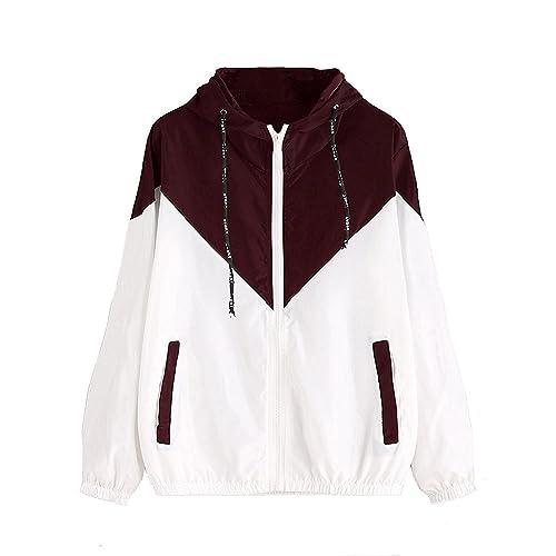 5966b6a3e Milumia Women's Color Block Drawstring Hooded Zip Up Sports Jacket  Windproof Windbreaker