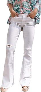 Pantalones vaqueros clásicos para mujer, con agujeros rasgados