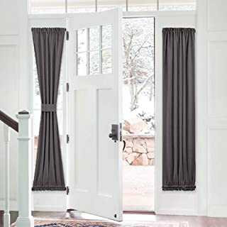 PONY DANCE French Door Curtain - Grey Blackout Drape Energy Saving Thermal Insulated Drapery/Front Door Panel Including Ad...