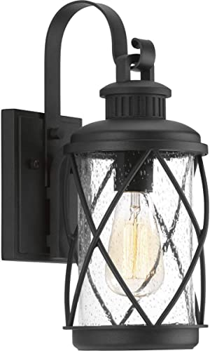 high quality Hollingsworth Collection 1-Light Clear Seeded high quality Glass Farmhouse Outdoor Small Wall Lantern outlet sale Light Textured Black online sale