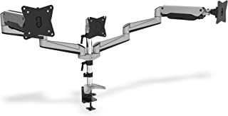 DIGITUS Monitor Halterung   Klemme & Gasdruckfeder   3 Monitore   Bis 27 Zoll   Bis 3x 6 kg   VESA 75 & 100   Silber
