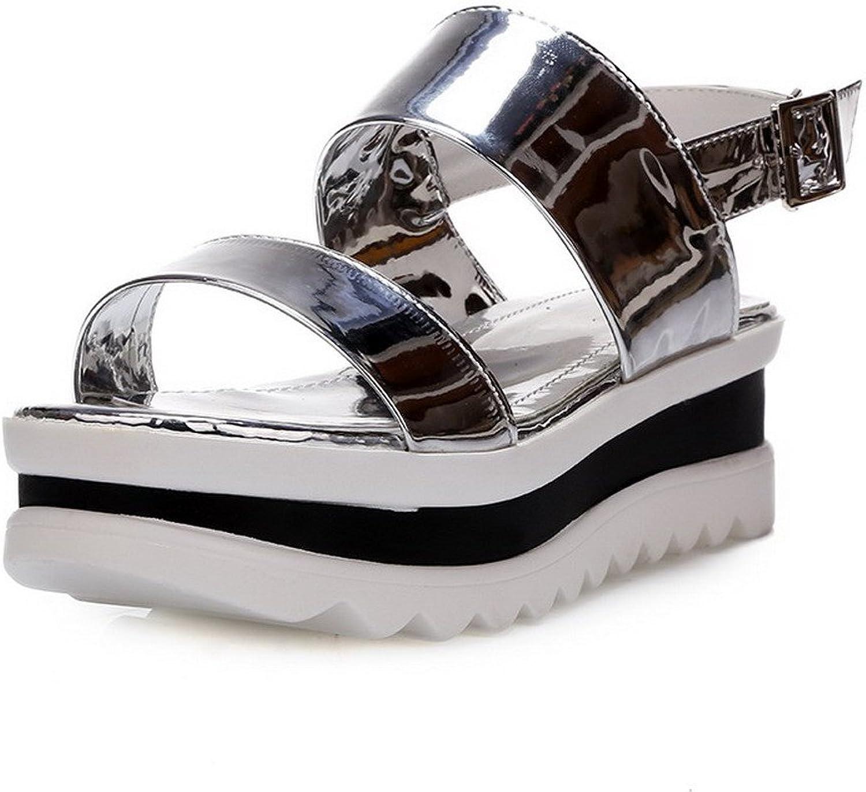 AmoonyFashion Women's Patent Leather Solid Buckle Open Toe Kitten Heels Sandals