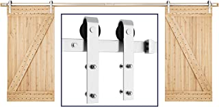 SMARTSTANDARD 16FT Heavy Duty Double Gate Sliding Barn Door Hardware Kit, Two-Piece Track Rails, Stainless Steel, Smoothly and Quietly, Easy to Install, Fit 40