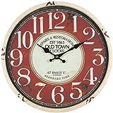 Perla pd design, Orologio da parete, in metallo con quadrante in vetro, design vintage, bianco anticato laccato, diametro circa 30 cm, Metallo, Old Town