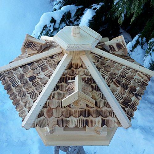 Sehr großes Vogelhaus Vogelhäuser Vogelfutterhaus Vogelhäuschen aus Holz Schreinerarbeit Gaube Natur XXL - 2