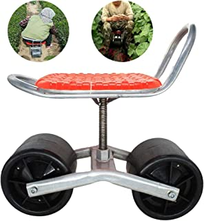 HLovebuy Garden Cart Rolling Work Seat Outdoor Lawn Yard Patio Wagon Scooter Adjustable 360 Degree Swivel Seat for Weeding, Gardening, and Outdoor Lawn Care