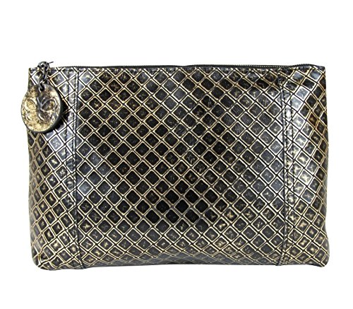 Bottega Veneta Women's Intrecciomirage Gold/Black Leather Clutch Pouch Bag 301204 8414