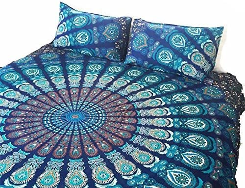 GOPLAI Popular brand CRAFT Blue Ombre Peacock Year-end annual account Bedding Bed Bedspread Mandala Co