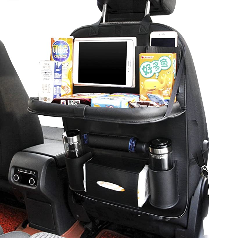 Ideashop Car Backseat Organizer PU Leather Auto Back Car Seat Organizer for Kids Toy Bottles Storage with Foldable Dining Table Holder Pocket Storage Kick Mats(Black with Table Tray)