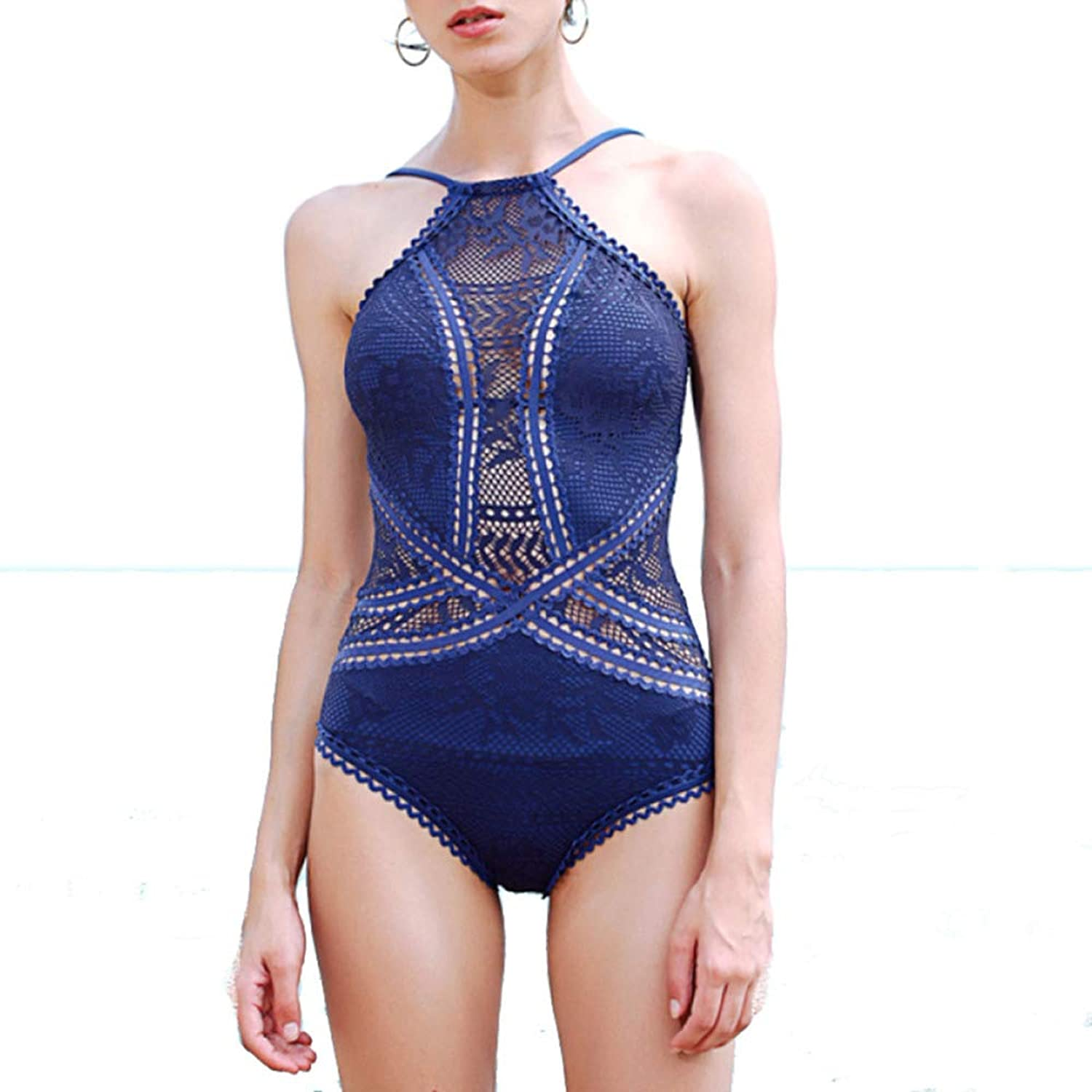 Ladies, One-Piece Swimsuit, Sexy Lace, Openwork, Open Back, Swimwear, Gather, Slim, Hot Springs, Swimsuit
