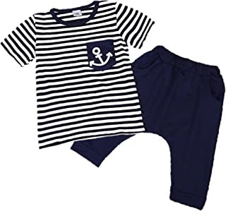 039dd0323 Chic-Chic 2 Pièces Garçon Ensemble Imprimé Motif Rayures T-Shirt Tops avec  Shorts